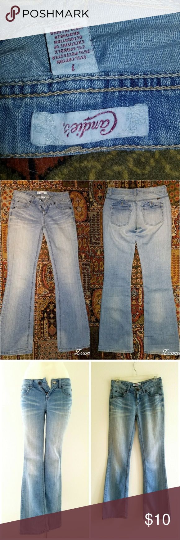 Candies Flare Light Wash Jeans Candies flare Light Wash Jeans. 5 pockets with 2 in the back are button pockets they came off an no long have them. 31 inseam jeans. Size 1  Midrise sits above the hip Zipper fly Candie's Jeans Flare & Wide Leg