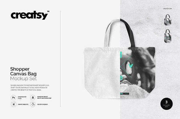 Shopper Canvas Bag Mockup Set by Creatsy on @creativemarket