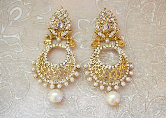 Gold tone pearl earrings leaf wedding bridal by BeautifulByBetter