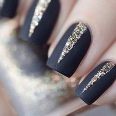 Royal black with glitter nails