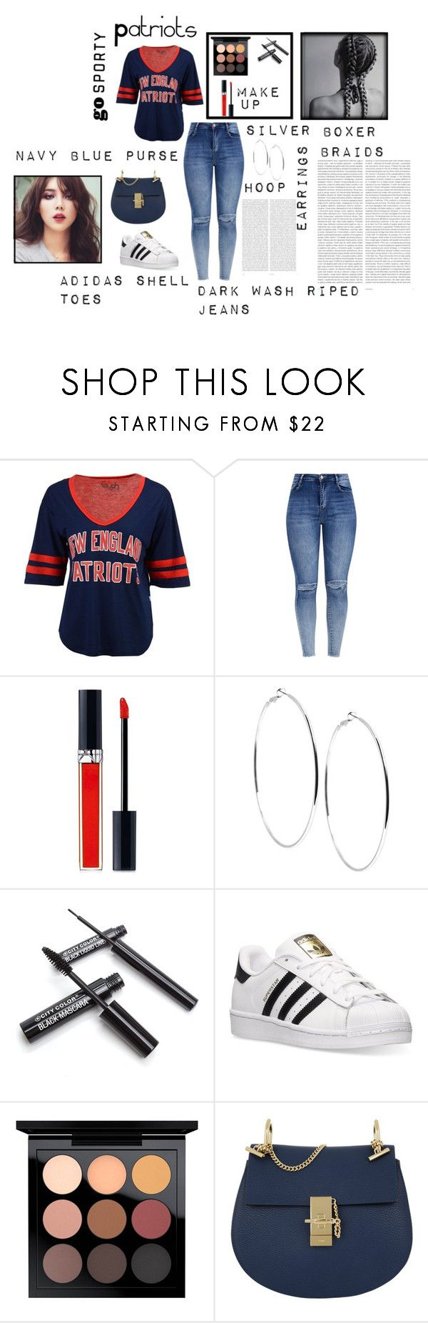 """""""Patriots Game"""" by bertoandino ❤ liked on Polyvore featuring Touch by Alyssa Milano, Christian Dior, GUESS, adidas, MAC Cosmetics, Chloé and Oris"""