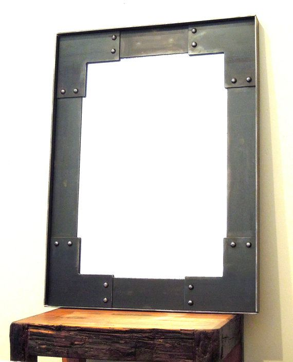 Iron Metal Industrial Wall Mirror by IronAtelier on Etsy