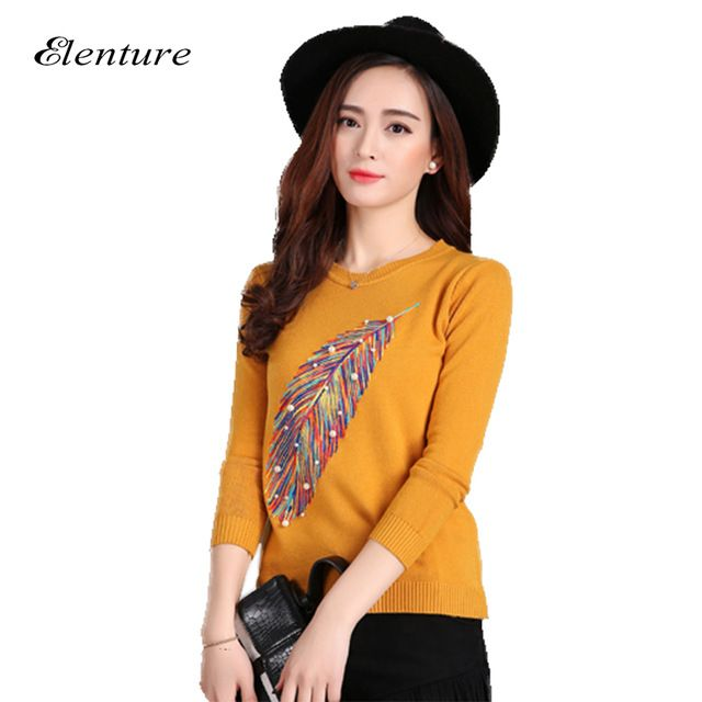 Check lastest price Fashion New Brand 2016 Women Sweaters Beading Leafs Embroidery Womens Pullovers Knitted Jumpers De Mujer Women Clothing just only $19.22 with free shipping worldwide  #womansweaters Plese click on picture to see our special price for you