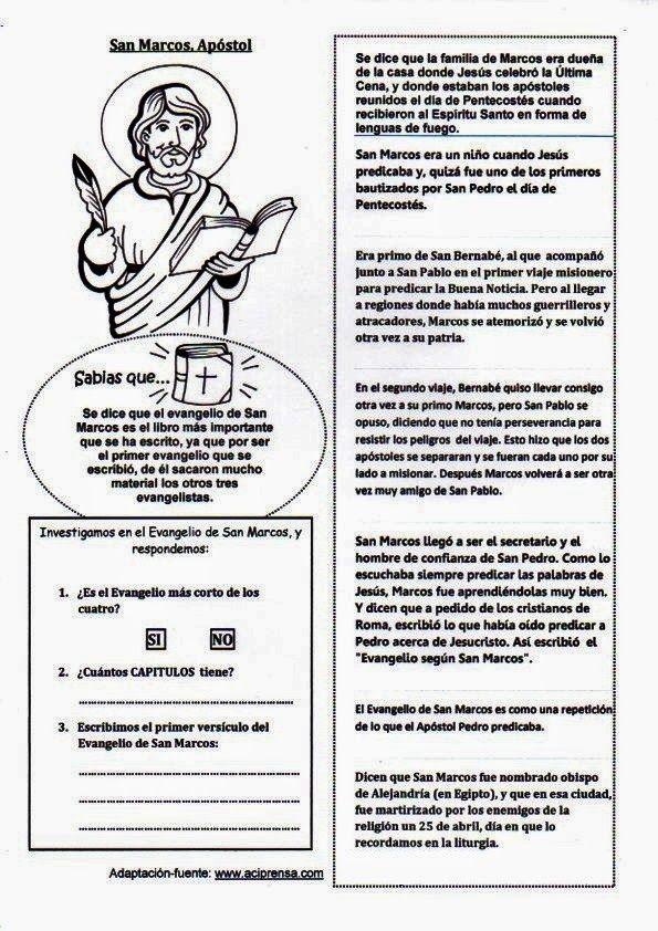 4 Abril 25 San Marcos 1 Jpg 595 842 Lecciones De La Biblia Evangelio Vidas De Santos