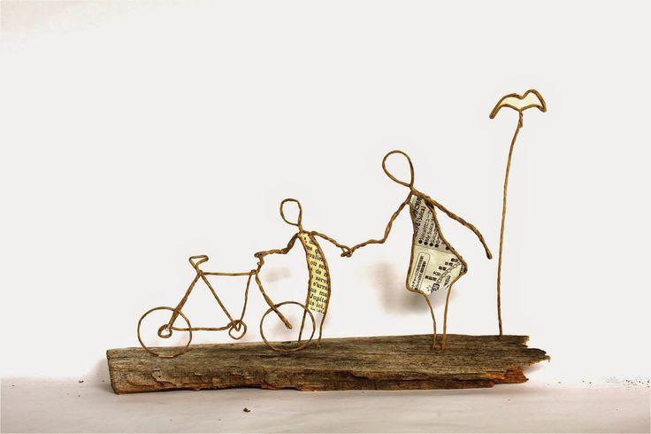 Thème transport : vélo en fil de kraft armé - création Epistyle - autre modèle de vélo ici : http://epistyle.blogspot.fr/2014/07/tour-de-france.html