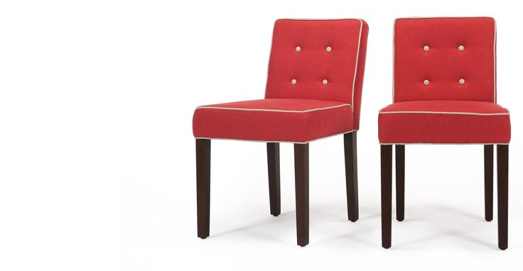 2 x Hoxton Dining Chairs, Coral Red