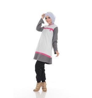 Baju Blus Tunik ALNITA AA-02 Abu Muda
