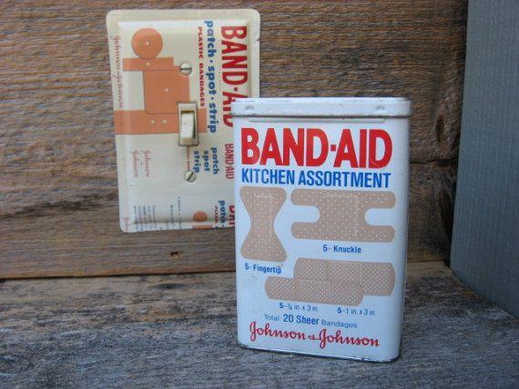 Bathroom Bath Decor Band Aid Tin Cans Rustic Tins Vintage