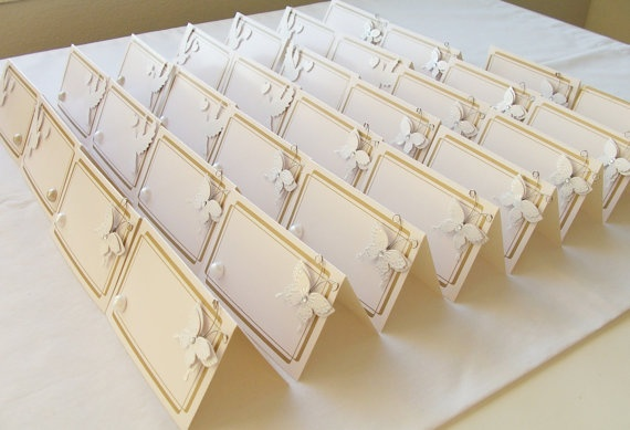 30 Seating placement name cards with doves, hearts and butterflies - gold and cream - for weddings, parties, showers and bachelorette parties by SparkleandComfort, $24.99