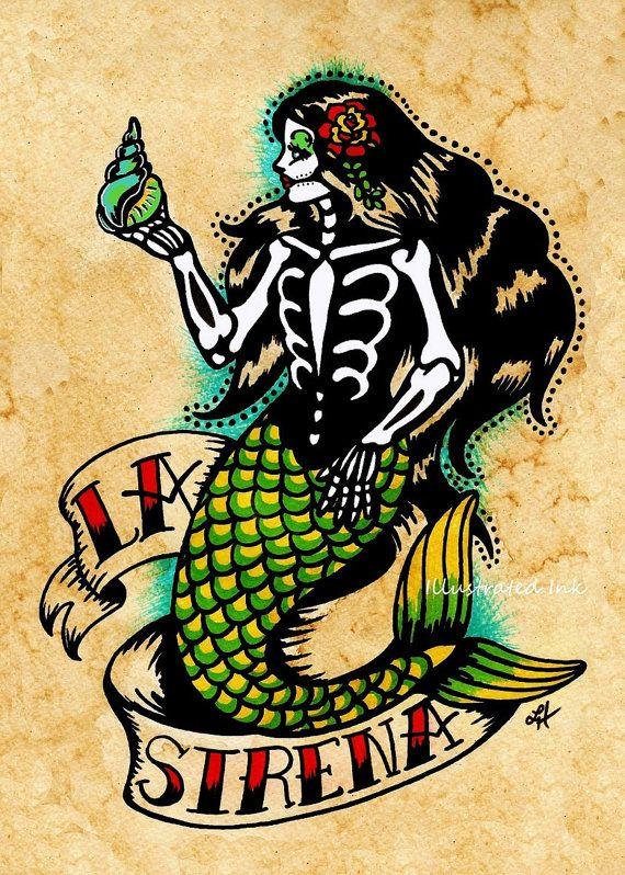 Day of the Dead Mermaid Tattoo Art LA SIRENA Loteria Print 5 x 7, 8 x 10 or 11 x 14
