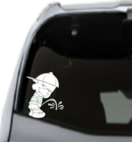 Boy peeing decal high quality outdoor vinyl whimsical embroidery designs 1 custom car