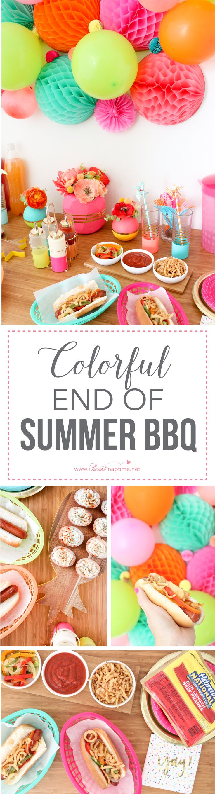 Colorful End of Summer BBQ... throw one last party complete with peperonata hot dogs and individual potato salad bites. Partnered with #HebrewNational #ad