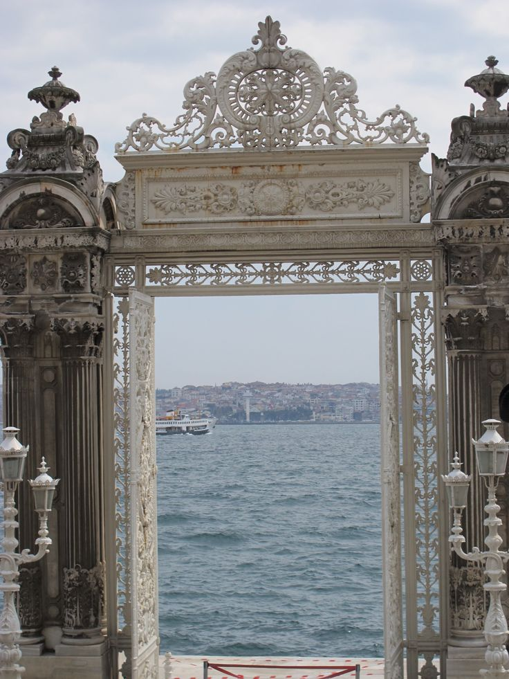 Dolmabache Palace, the gate opens out onto the Bophorus ,Istanbul