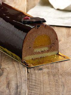 Chic, chic, chocolat...: Bûche de Noël: bavaroise au chocolat et mandarine ...