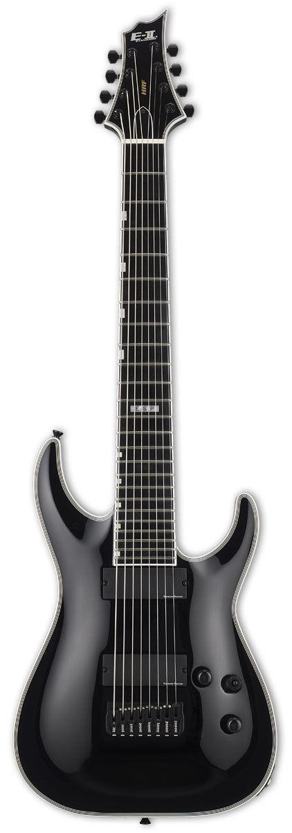 ESP E-II HRF NT8 B Baritone 8-String Electric Guitar | Black Finish www.guitaristica.org #electricguitar #guitars #guitaristica