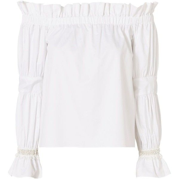 Alexis Women's Ellen Off The Shoulder Top (1,705 CNY) ❤ liked on Polyvore featuring tops, white, off shoulder tops, alexis tops, off shoulder long sleeve top, lace trim top and white off shoulder top