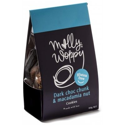 Molly Woppy Gluten Free Dark Choc Chunk Macadamia Nut Cookies. Incredible flavours mixed with just the right amount of decadence and fun, Molly Woppy 160gm Gluten Free Cookies with rich chunks of dark chocolate and crunchy New Zealand grown macadamia nuts are the perfect bite to enjoy with good company and a hot cuppa. Made in New Zealand with the most scrumptious ingredients for your enjoyment  See more at www.entirelynz.co.nz/food