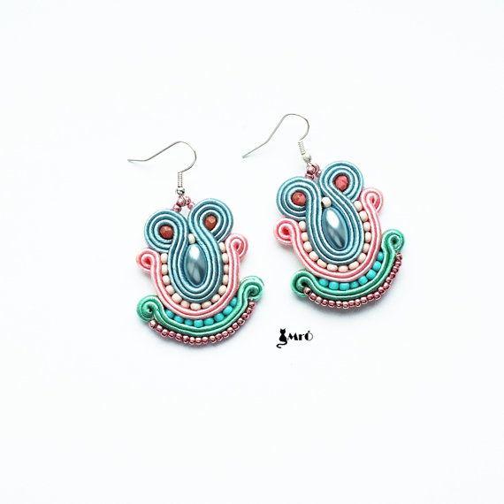 Pastel+soutache+earrings+GOOD+PRICE++by+MrOsOutache+on+Etsy,+$25.00