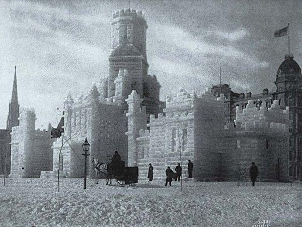 Château de glace lors du carnaval, Montréal 1884