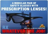 Wrap around prescription safety glasses