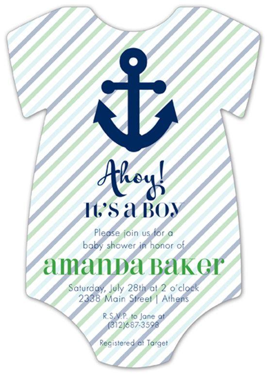 Ahoy It Is A Boy Onesie Invitation