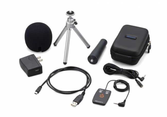 The APH-2n optional accessory pack includes seven tools for use with the H2n. The remote control can be used to start stop and pause recordings as well as to add marks.
