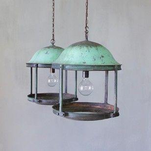 A Pair of Large Copper Rotunda Lanterns