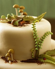 Little almond paste mushrooms and fushrooms and acorns. Woodland Cakes -- Magical Marzipan Forest cake - THE RECIPE
