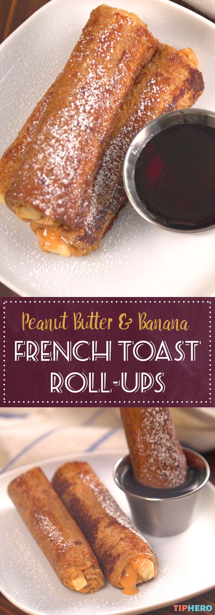 Peanut Butter & Banana French Toast Roll-up Recipe | French toast is an all-time breakfast favorite. Add a extra health boost and start your day off right by rolling in peanut butter and banana. Yum! Click for the video and recipe.  #breakfast #brunch #healthyrecipes #yum
