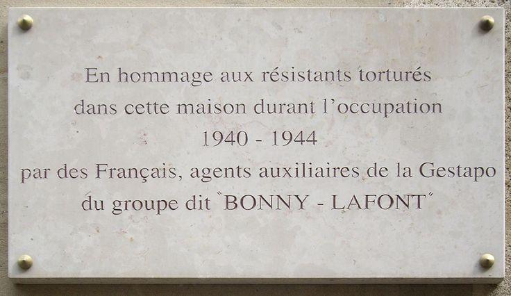 Plaque Gestapo française, 93 rue Lauriston, Paris 16 - Gestapo française de la rue Lauriston — Wikipédia