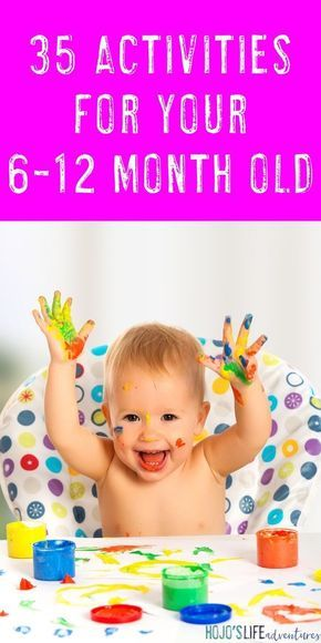 Every mom is going to love this list! You get 35 different activities to do with your 6-12 month old baby. These are mostly simple ideas, tips, crafts, toys, and other learning that can take place at home. No baby will run out of things to do with the DIY and learning that takes place here. Parents are teaching their children through play. Food, sensory ideas, fine & gross motor work, and so much more! {6, 7, 8, 9, 10, 11, & 12 month old baby -- six, seven, eight, nine, ten, eleven months…