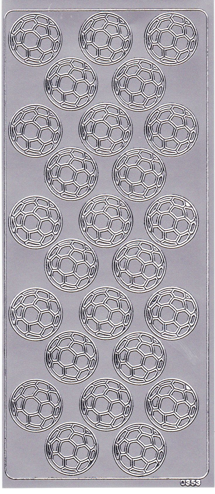 Stickers ark med flotte sølv farvet fodbolde fra Sjovogkreativ.dk til invitationer og festsange til konfirmation og fødselsdag.