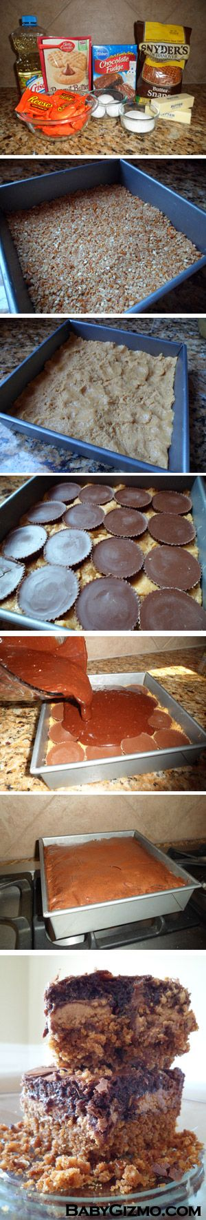 Pretzel Crusted-Peanut Butter Cookie/Candy-Brownie bars.