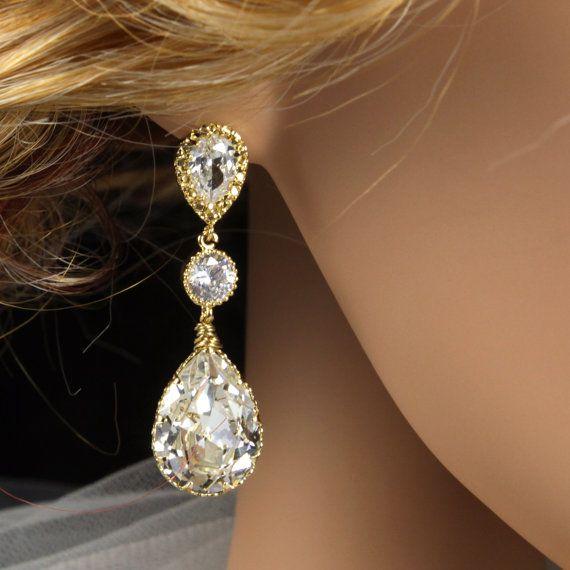 Champagne Gold Teardrop Crystal Earrings by GlitzAndLove, $33.80
