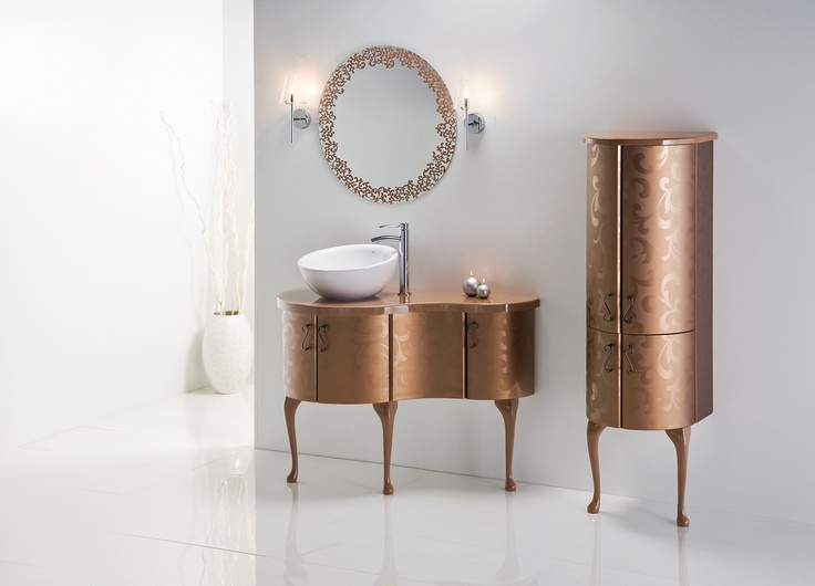 kolekcja Piano w złocistym kolorze #bathroom #furniture #lazienka #cabinet #szafka #meble #gold #glamour