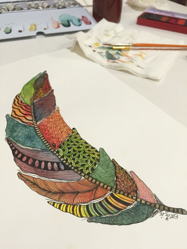Coloured feather nearly finished