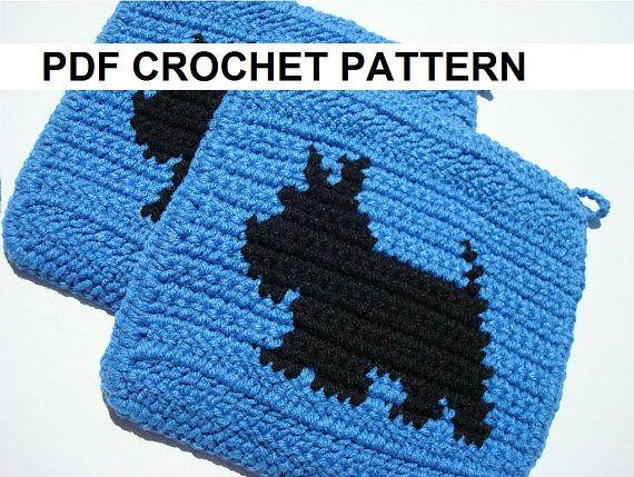 SCOTTY DOG Potholder PDF Crochet Pattern, Scottish Terrier Pot Holder - Graph and Written Instructions, Single Crochet - Afghans, Scarf, C2C