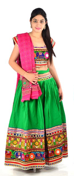 #ChaniyaCholi #lehngacholi #styleincraft #navratri #navratri2015 Beautifully crafted for girls and womens dazzling embellishments is a perfect traditional dress to your girls and wardrobe.Dress her with a classy style statement for festivals with this ethnic set that will make you look Beautiful.Cotton traditional gujarati lacha/chaniya choli in multi color. The