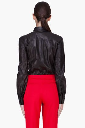 HAKAAN Black Leather Cyna Blouse