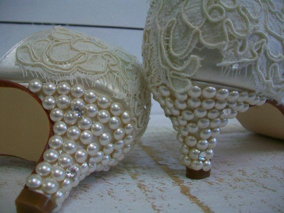 Ivory Wedding Shoes - Lace Wedding Shoes - Vintage Lace -Pearls - Bride -Ivory Swarovski Crystal Bridal Heels - Choose From Over 100 colors