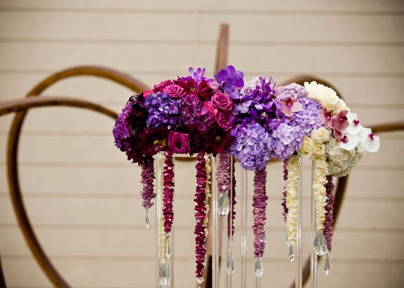 Southern Bride & Groom Floral Inspiration -- Modern Ombre Purple Tabletop and Bouquet - Southern Bride & Groom