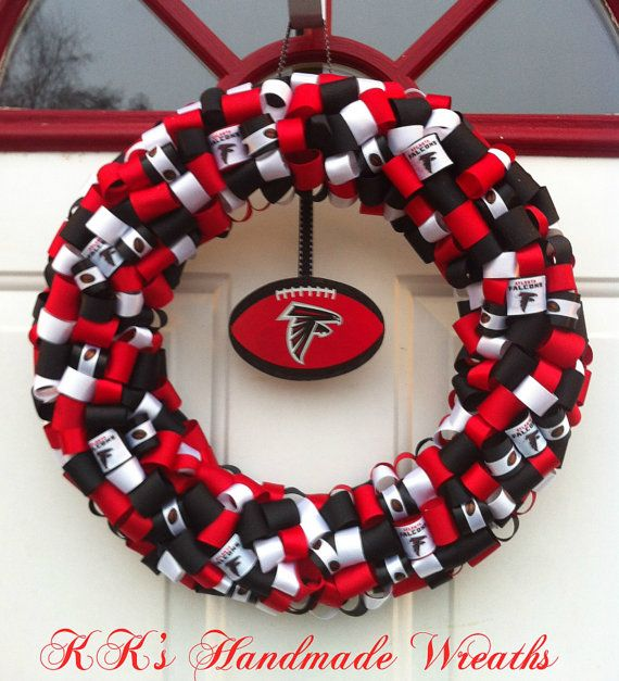 Atlanta Falcons Ribbon Wreath by KKsHandmadeWreaths on Etsy, $30.00