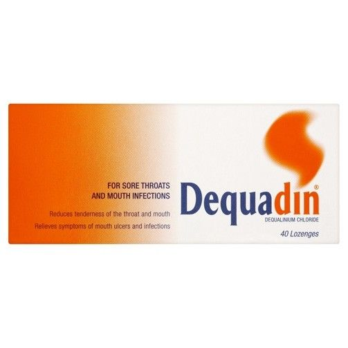 Dequadin Lozenges are specially designed to treat throat and mouth infections like pharyngitis, glossitis, oral thrush, tonsillitis and stomatitis. These throat treatment lozenges contain the anti-bacterial and a
