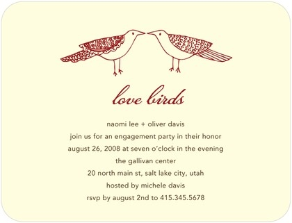 Signature Ecru Engagement Party Invitations Love Peck - Front : Rich Red