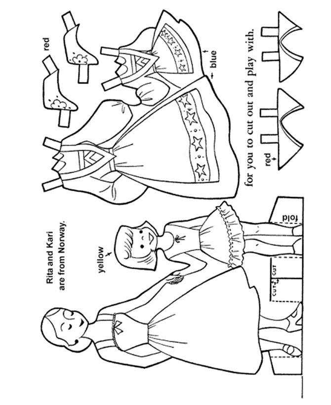 BlueBonkers - Youth Activity Sheets - Paper Dolls - Norwegian Girl