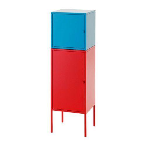 IKEA - LIXHULT, Opbergcombinatie, rood/blauw, , Een kleurrijke, kant-en-klare combinatie voor het opbergen van grote en kleine spullen.Hou overzicht over belangrijke papieren, brieven en kranten door ze aan de binnenkant van de kastdeur te bevestigen.