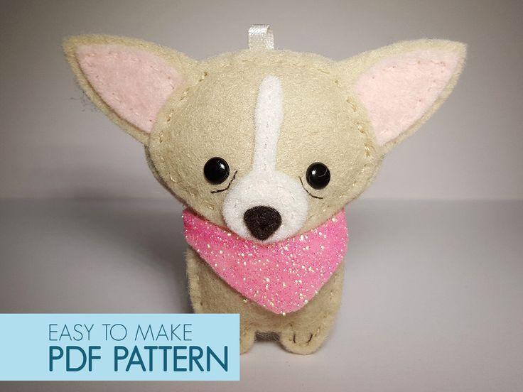 Easy to sew felt PDF pattern. DIY Pepe' the Chiwawa, finger puppet, ornament. by Phoraminiphera on Etsy https://www.etsy.com/listing/281544156/easy-to-sew-felt-pdf-pattern-diy-pepe
