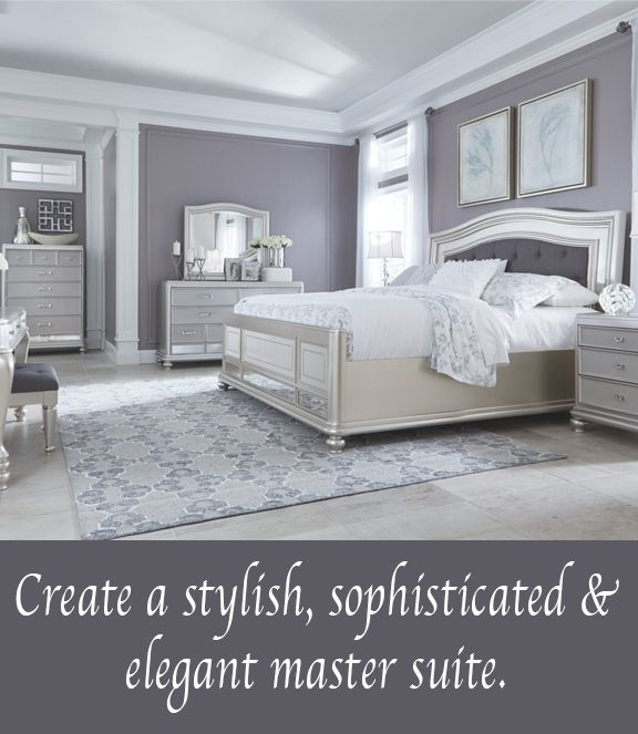Make a stylish statement in your master suite with our Grand Elegance furniture lifestyle. Mirrored elements, tufted fabric and silver tones give just the right amount of glamour and sophistication. Find out more at AshleyHomeStore.com.