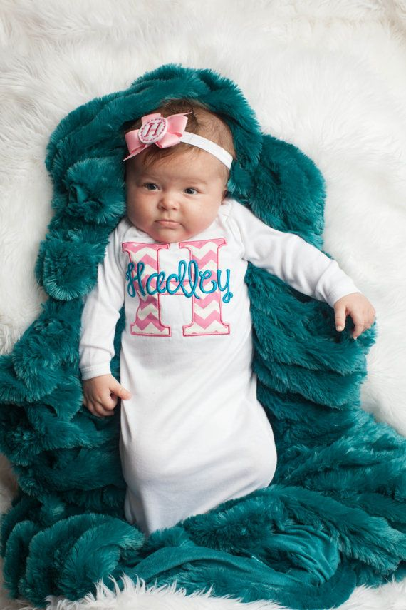 Newborn Baby Girl  Take Home Outfit  Monogram Layette by LilMamas