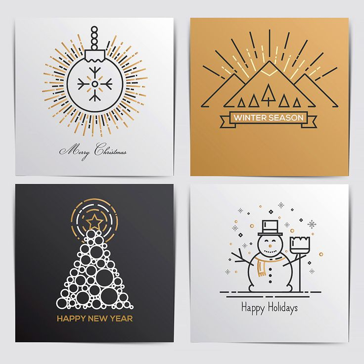Merry Christmas Outline Labels on Behance